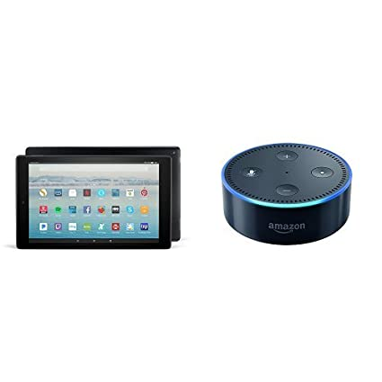 All-New Fire HD 10 Tablet with Alexa Hands-Free, 32 GB, with Special Offers (Black) + Echo Dot (Black)