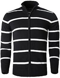 Allegra K Men Zipper Front Yarn Dyed Stripe Long Sleeve knitted Cardigan Sweater