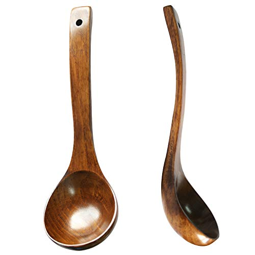 HIZBO MART Straight Handle Wooden Wood Scoop Soup Spoon Ladle 9.5 Inch Brown(Set of 2)