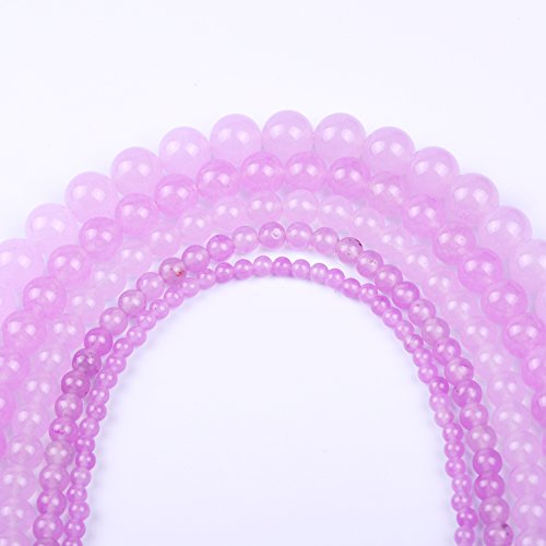 Natural Round Jade Loose Stone Beads Bulk For Jewelry Making 4MM, 6MM, 8MM, 10MM ,12MM (8MM, light (Purple Jade Beads)
