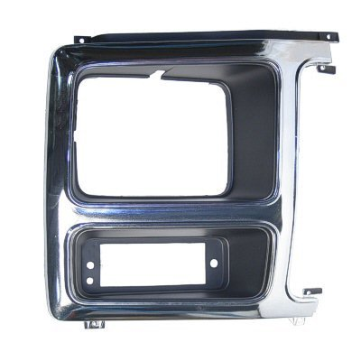 FOR 1980-1986 Ford Bronco FOR SILVER GRILLE MAPM Premium Quality PASSENGER SIDE HEAD LIGHT DOOR; CHROME//BLACK