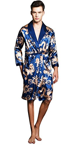 SexyTown Long Satin Lounge Print Bathrobe Men's Charmeuse Sleepwear with Pockets Large A-Royal Blue (Hand Painted Silk Jackets)