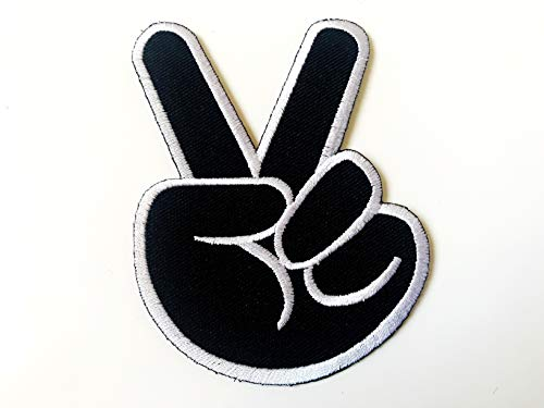 Tyga_Thai Brand Two Fingers Peace Victory Sign Black Color Embroidered Sewing Iron on Patch ()