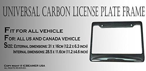 ICBEAMER Waterproof Black Plastic + Gloss Carbon Fiber on top Auto Vehicle Truck Van License Plate Frames by ICBEAMER (Image #4)