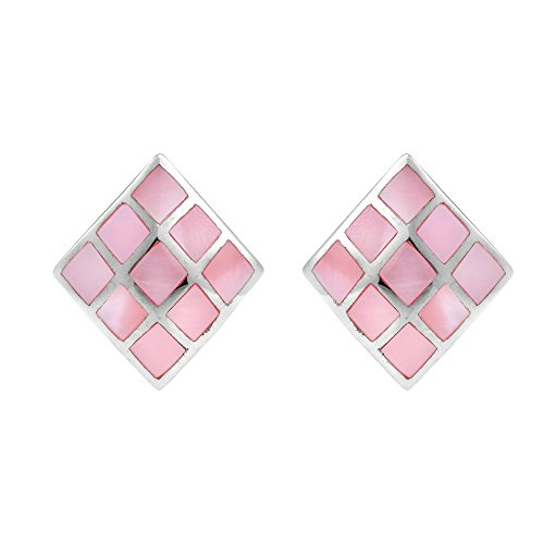 - Inlay Pink Mother of Pearl Block .925 Sterling Silver Post Earrings