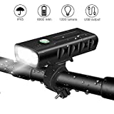 BICYGO USB Rechargeable Bike Light Front, 3 LED 1200 Lumen, 6000 mAh Bicycle Light, Flashlight with 3 Modes, IPX5 Waterproof, Cycling Safety Bicycle Headlight