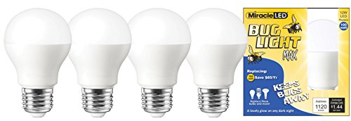 Miracle LED Yellow Bug Light MAX - Replaces 100W - A19 Outdoor Bulb for Porch and Patio - 4 Pack (604992)