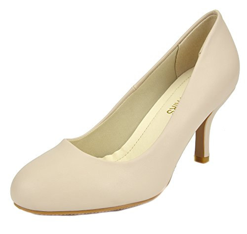 DREAM PAIRS Women's SUAVEE Beige PU Low Heel Stiletto Pump Shoes - 7.5 M US