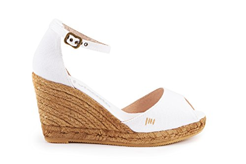 Canvas Open Heel Spain Espadrilles Toe inch Strap Comfort Weiß in with Ankle Aiguafreda 3 Made Elegant VISCATA Z7xYRW