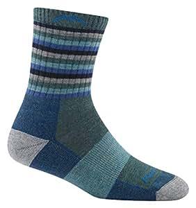 Darn Tough Hike/Trek Micro Cushion Stripe Crew Socks - Women's Aqua Stripe Small