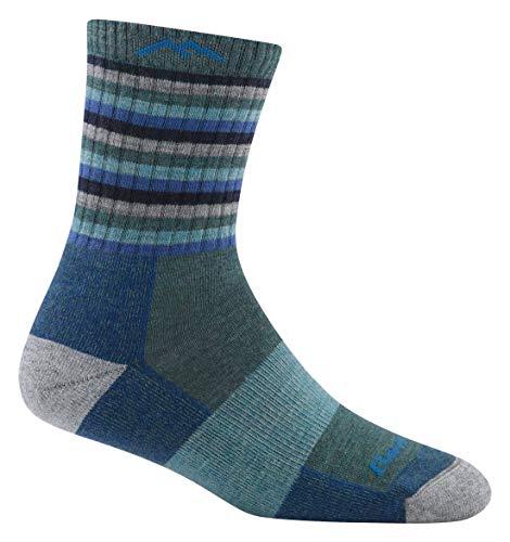 (Darn Tough Hike/Trek Micro Cushion Stripe Crew Socks - Women's Aqua Stripe Medium)