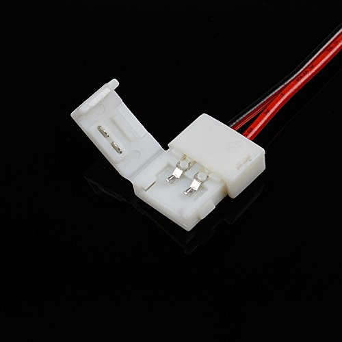Large Product Image of elcPark 10PCS Free Solder 2 Pin Wire Connector Cable Adapter for Single Color SMD 3528 LED Strip Light Strip to Strip