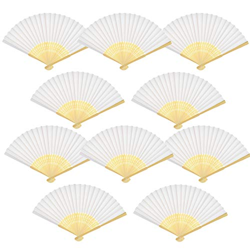 (Teekia 20 Pack Handmade Paper Folding Fans Bamboo Hand Held Fan Gift Party Favors Home Office DIY Decor)