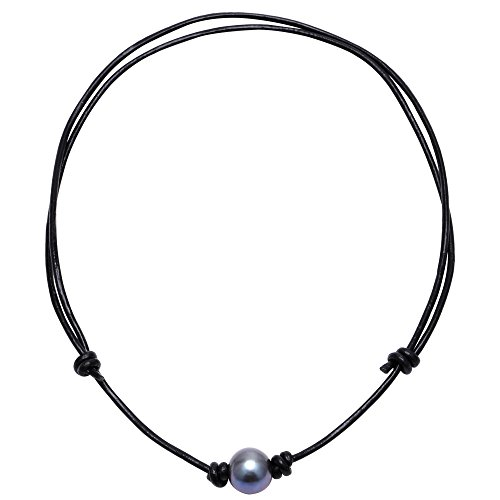 Aobei Adjustable One Single Freshwater Cultured Pearl Choker Leather Necklace with Genuine Leather Cord for Girls-Black Blue