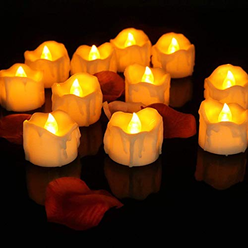 12 Velas Led Sin Llama Fuego Luces De Té - Velas Electrónicas Con Baterías Incorporadas para San Valentín, Fiestas, Navidad, Festivales Decoración -