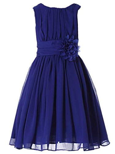 - Bow Dream Little Girls Elegant Ruffle Chiffon Summer Flowers Girls Dresses Junior Bridesmaids Royal Blue 5