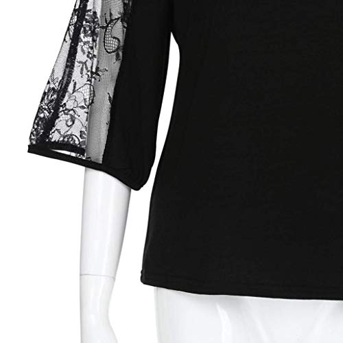 Casual Mode Donna Scavare di Marca BOLAWOO Manica di Schwarz Collo Bluse Rotondo Camicetta Shirts Camicie Monocromo Giuntura 4 Prospettiva Blusa 3 Elegante Primaverile Pizzo 8EHE4Pwqx