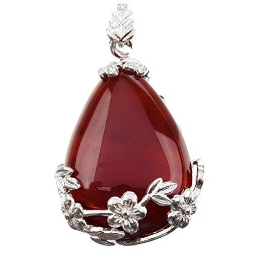 SODIAL Women Angel Tears Water Drop Semi-Precious Gemstones Pendant -Red Agate
