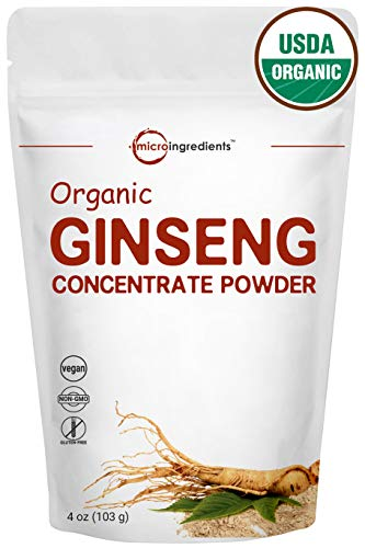 Maximum Strength Organic Ginseng Root 200:1 Powder, 4 Ounce, Support Energy, Immune, Mental Health & Physical Performance, Non-Irradiated, Non-Pesticide, Non-GMO and Vegan Friendly