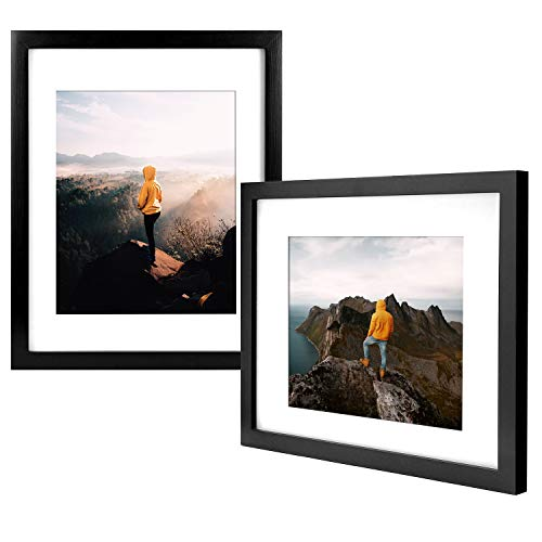 Discount Photo Frames (Yome 2 Pack 8x10 Black Picture Frames with Mats, Photo Frames Set for Wall or Tabletop Display Pictures, Create Your Meaningful Memories, Solid Wood and)