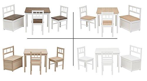 Impag Kindersitzgruppe aus europäischem Buche-Hartholz 1 Tisch, 2 Stühle, 1 Truhenbank mit Deckelbremse, 4 Varianten wählbar Anni