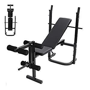 PUTEARDAT Adjustable Folding Weight Bench, Incline Weight Lifting Bench Press Barbell Rack, Home Gym Fitness Workout Bench (Black)