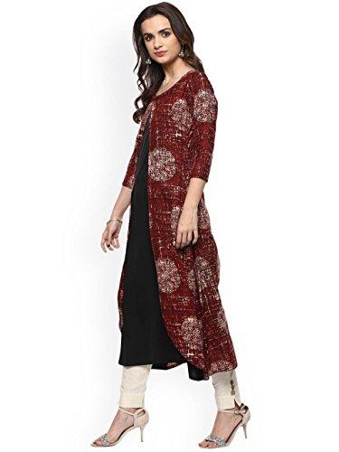 to Dream Women Kurti Ready black Red Printed Fashion Rayon Angel Dress Wear Designer Viscose Kurta xaraqwzfE