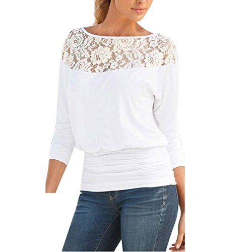 (WensLTD Early Autumn Women Long Sleeve Lace T-Shirt Blouse Casual Loose Tops Shirt Tee (XL, White))