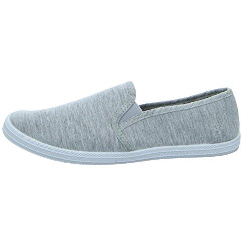 Sneakers IJ613-06 Damen Leinen Slipper/Kletthalbschuh Grau (Grau)