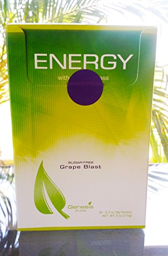 Genesis Pure Energy With Wheat Grass Grape Blast Sugar Free Powder Mix Dietary Supplement 30 0 3Oz  9G  Packets Net Wt  9 Oz  270G