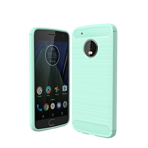 Price comparison product image GBSELL Slim Carbon Fiber Soft Silicone Case Cover For Motorola Moto G5 Plus (Mint Green)