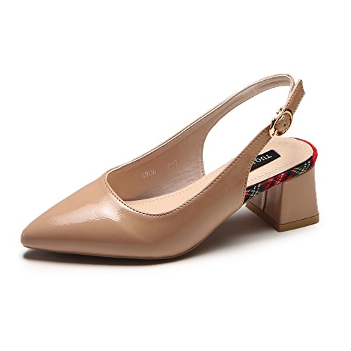Zapatos Y Superficiales Tacón El De Señoras Cuadrado Puntiagudas Simples Verano Calzan Sandalias Ymfie Del A Las Los Moda La xqwfPTz