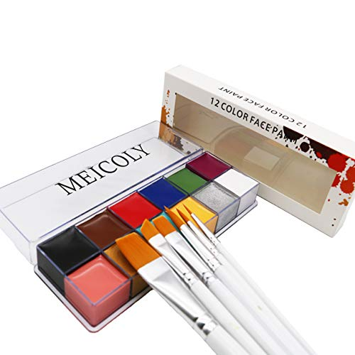 12 Colors Face Body Paint Oil Painting Art Halloween Party Fancy Beauty Makeup Brushes Eye Shadow Kit with
