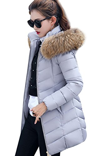 Quilted YMING Hood Detachable for Long Women Puffer Jacket Fur Gray with Jacket Winter Warm wrZ0Bqrxna