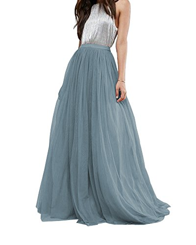 CoutureBridal Women's Bridal Prom Tulle Long Skirt Party Floor Length Dusty Blue
