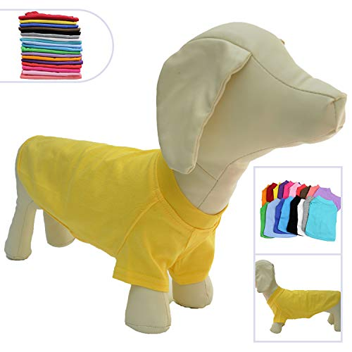 Lovelonglong 2019 Pet Clothing Dog Costumes Dachshund Clothes Blank T-Shirt Tee Shirts for Dachshund Dogs,Corgi 100% Cotton Yellow D-S
