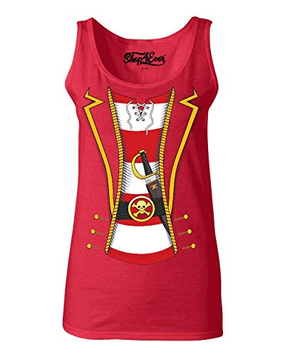 Ladies Captain Hook Costume (Shop4Ever Pirate Buccaneer Costume Stripe Women's Tank Top Medium Red)