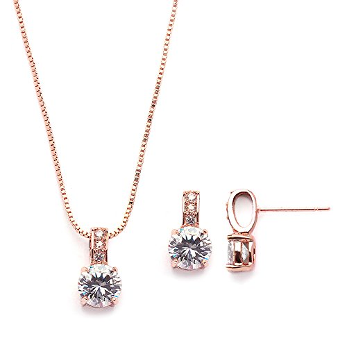 (Mariell Rose Gold Round-Cut Cubic Zirconia Necklace Earrings Set for Brides, Bridesmaids & Everyday Wear)
