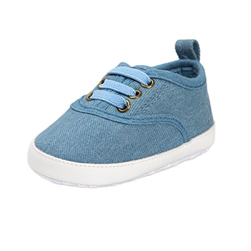 RVROVIC Baby Boys Girls Shoes Canvas Toddler Sneakers Anti-Slip Infant First Walkers 0-18 Months (13cm (12-18months), 5365 Light Denim)