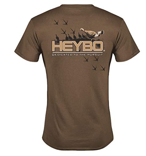 (Heybo Turkey Tracks Short Sleeve T-Shirt-Brown-XL)