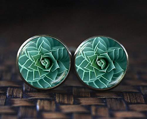 because meet you Succulent Cufflinks, Handmade Nature Cufflinks, Little Cactus Cufflinks Gift Unique, Fibonacci Spiral Cufflinks, Golden Ratio Cufflinks by because meet you (Image #2)