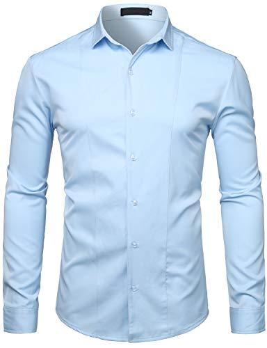 WHATLEES Men's Hipster Solid Slim Fit Long Sleeve Tuxedo Dress Shirts T27 Sky Blue XX Large