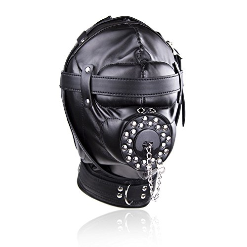 NewMaxer Bondage Padded Adjustable Harness Full Hood Open Mouth Gag Locking Mask by NewMaxer