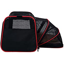 Pet Travel Carrier Crate 19-Inch (48 cm) Pet Travel Bag Foldable Oxford Cloth Portable Comfort Pet Bag Lightweight Fabric Pet for Dogs Cat Crate , M , 1
