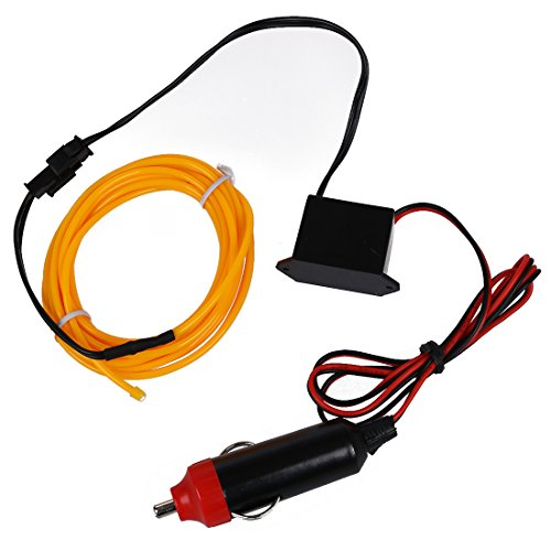Toogoo LED Flexible EL Wire Neon Glow Tube Lamp Light DC 12V Inverter for Car, Yellow