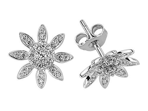 Birgie Diamants et Bijoux -Boucles d'Oreilles Fleurs et Diamants-Femme- or Blanc 204E0042