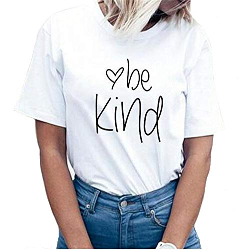 Be Kind Thanksgiving T Shirts Women Cute Heart Blessed Shirt Funny Inspirational Teacher Fall Shirts Tops White S