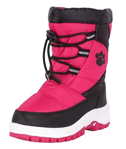 Rugged Bear Girls PAW Print Snow Boot Fuchsia Black 9