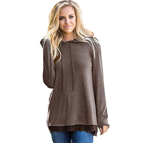 FANXING Womens Hoodie Lace Solid Sweatshirt Tops Ladies Hooded Blouse (S-XXL) by FANXING