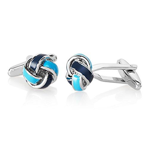 Crucible Jewelry Mens High Polished Blue True Love Knot Cuff Links, One Size - Jade Set Cufflinks